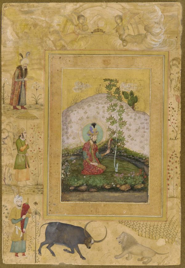 The Late Shah Jahan Album: Humayun Seated in a Landscape ca. 1650 Payag , (Indian, India, active c.1591-c.1658) Mughal dynasty Shah Jahan (r. 1628–55)
