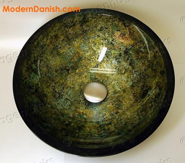 Pictures of  Hunter Green Foil Hand Painted Bathroom Vessel Glass Sink