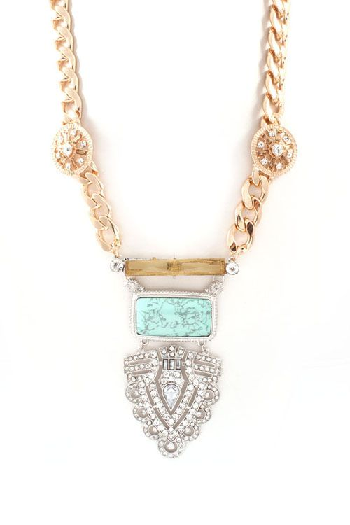 Joanna Statement Necklace in Turquoise