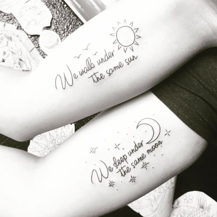 Long Distance Friendship Sun-Moon Matching Bestfriend Quoted Tattoos #matchingtattoos