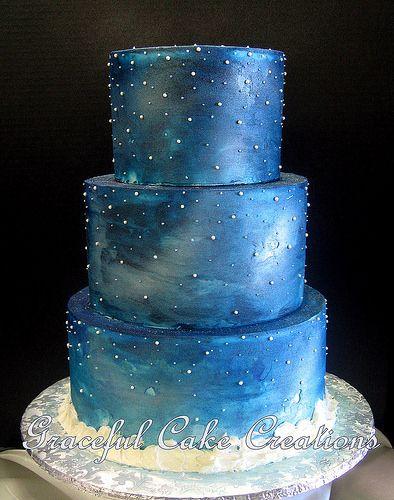 starry wedding cake - Google Search | Cute | Wedding cakes ...