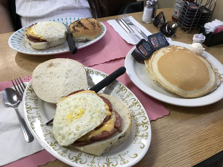 [I ate] Pork roll egg n cheese sandwich. Short stack pancakes