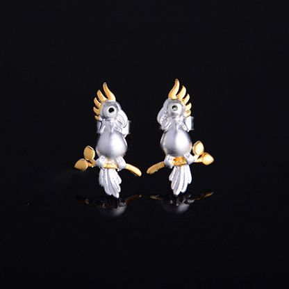 Parrot Stands On The Tree 925 Silver Original