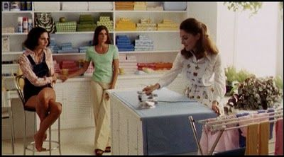 Anna Hill Johnstone's costume designs in The Stepford Wives (1975).  I liked the blend of Victorian and 70s fashion that the Stepford wives donned.  But I also liked Joanna and Bobby's pre-robot style.  I'm a huge fan of palazzo pants, and peasant blouses.  I also liked Bobby's long and short jean jumpers.