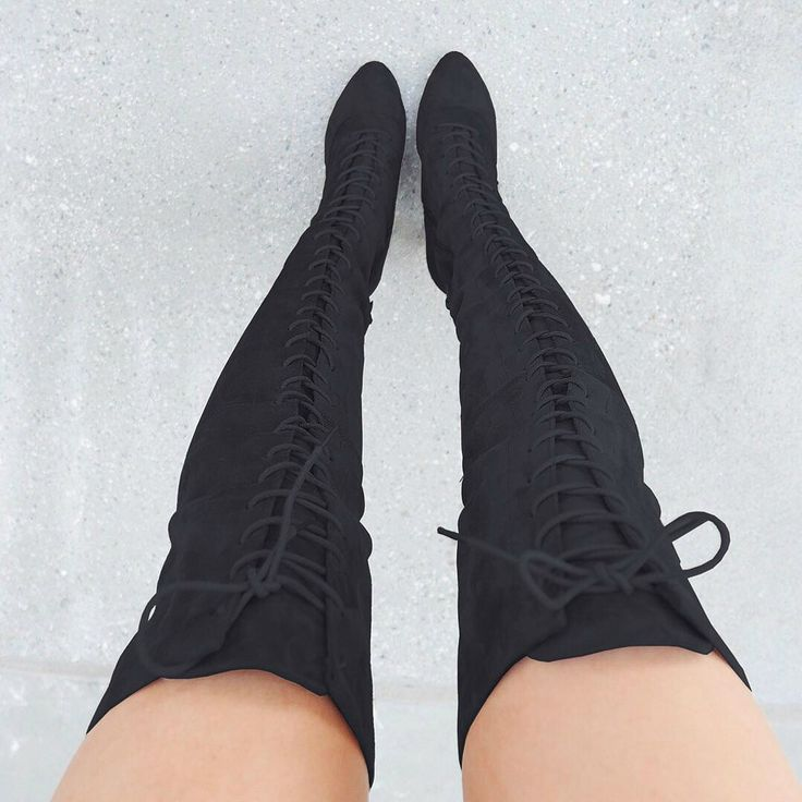 Chunky Lace Up Thigh High Boots