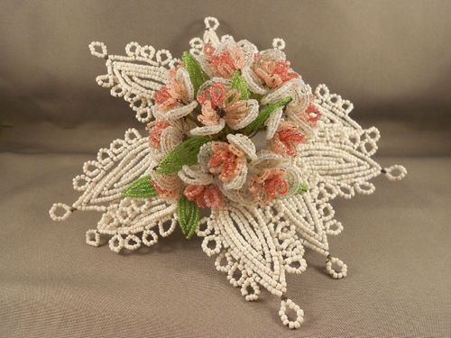 Old Antique Vintage Glass Beaded Flower Bouquet Corsage French |