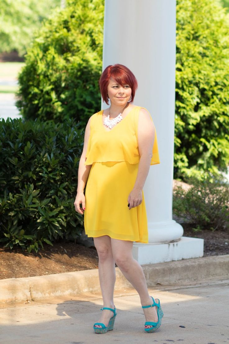 MakeMeChic Yellow Dress, Summer looks for women, Nine West Turquoise wedges, fashion for women in 30's, 40's, 50's