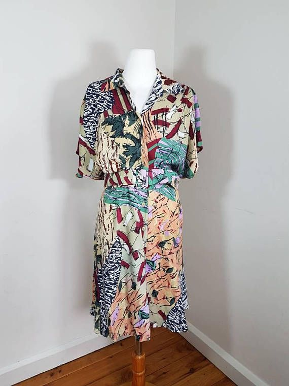 Women Vintage Dress / Jungle patterns Light and Confortable /