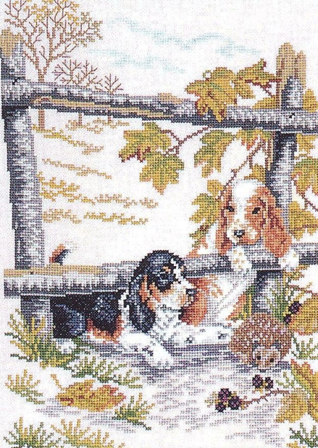 Beagles: Cross stitch (Eva Rosenstand, 12-978)
