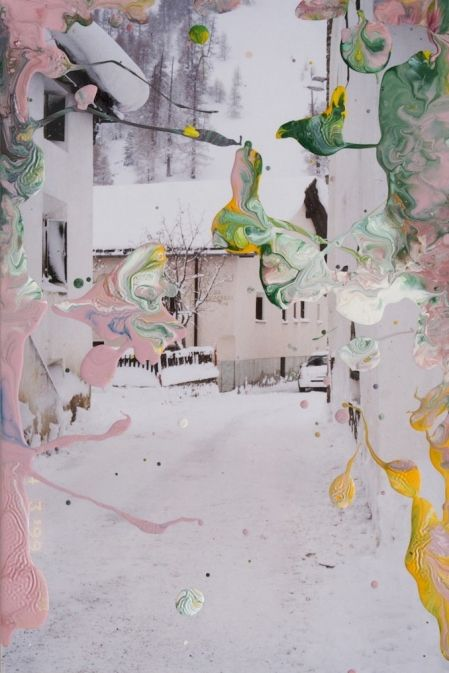 Gerhard Richter: Untitled, 2008. Enamel on a photograph.  Paint over the image... or glass... color tones.