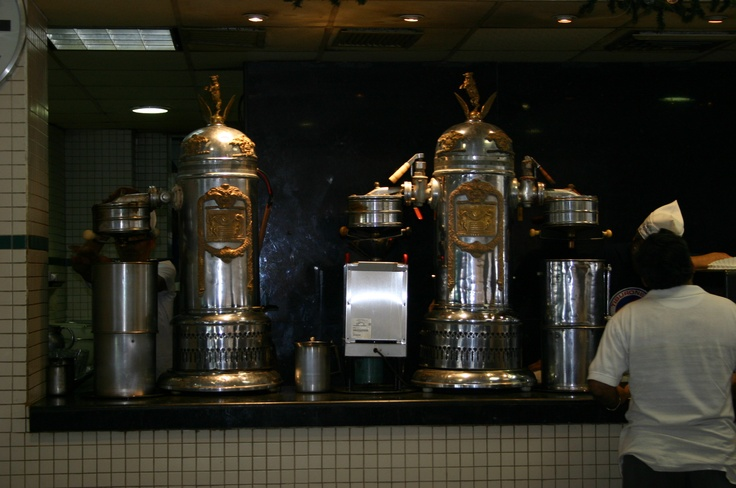 Old italian coffee makers at Cafe de la Parroquia  100+ years Coffee shop and restaurant, obligated visit during your stay the the city  Veracruz, Veracruz