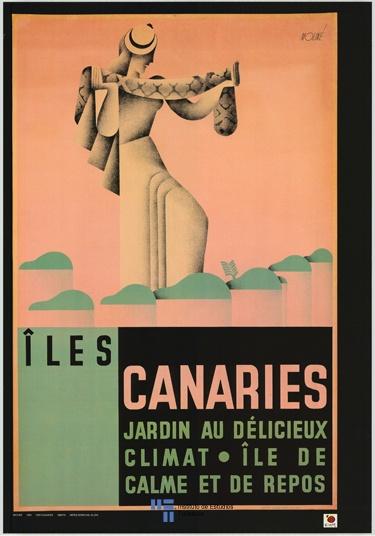 Islas Canarias en una litografia del año 1920. Cartel de turismo