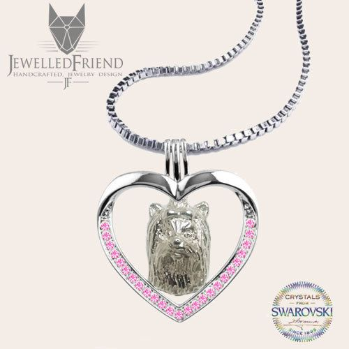 Yorkie jewelry necklace pendant with swarovski crystal by jewelledfriend. Explore more products on http://jewelledfriend.etsy.com