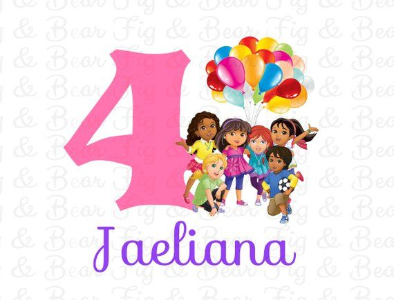 Dora and Friends Birthday Shirt with Number for Girls Dora the Explorer  Iron On Transfer Personalized FREE    PLEASE READ ALL OF THE FOLLOWING  INFORMATION ... 081396c5c9b4