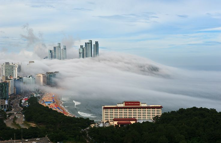 "500px / Photo ""The sea fog comes"" by Sung Chul Park -- Haeundae Beach, Busan, South Korea."