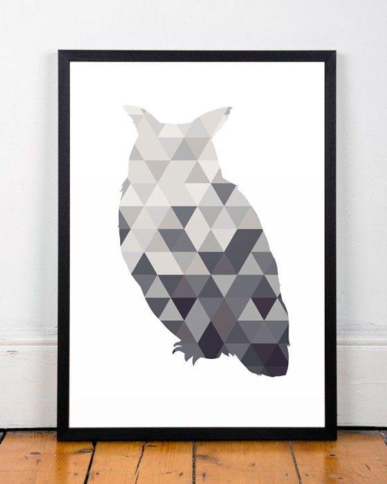 Night owl print, Geometric owl print, Triangles geometric, Modern art print, Black and white art, Owl art print, Home decor, Minimalist art