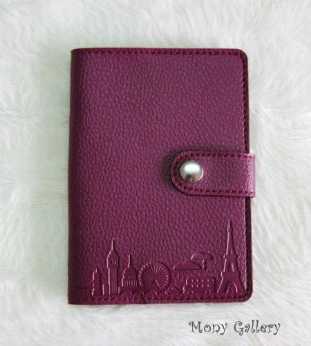 Leather Passport cover /Passport holder/ Passport case: Travel desing - Purple colour