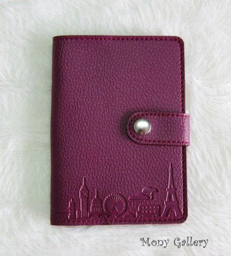 Leather Passport cover /Passport holder/ Passport case: Travel desing - Purple colour
