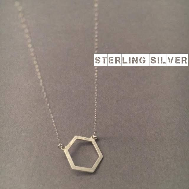 Hexagon Necklace, Sterling Silver Necklace, Silver Hexagon Necklace, Geometric Necklace, Minimal Necklace, UK Seller by Instyleglamour on Etsy