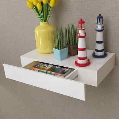 Etagère murale en MDF Blanc avec 1 tiroir Stockage rangement pour DVD/Livres