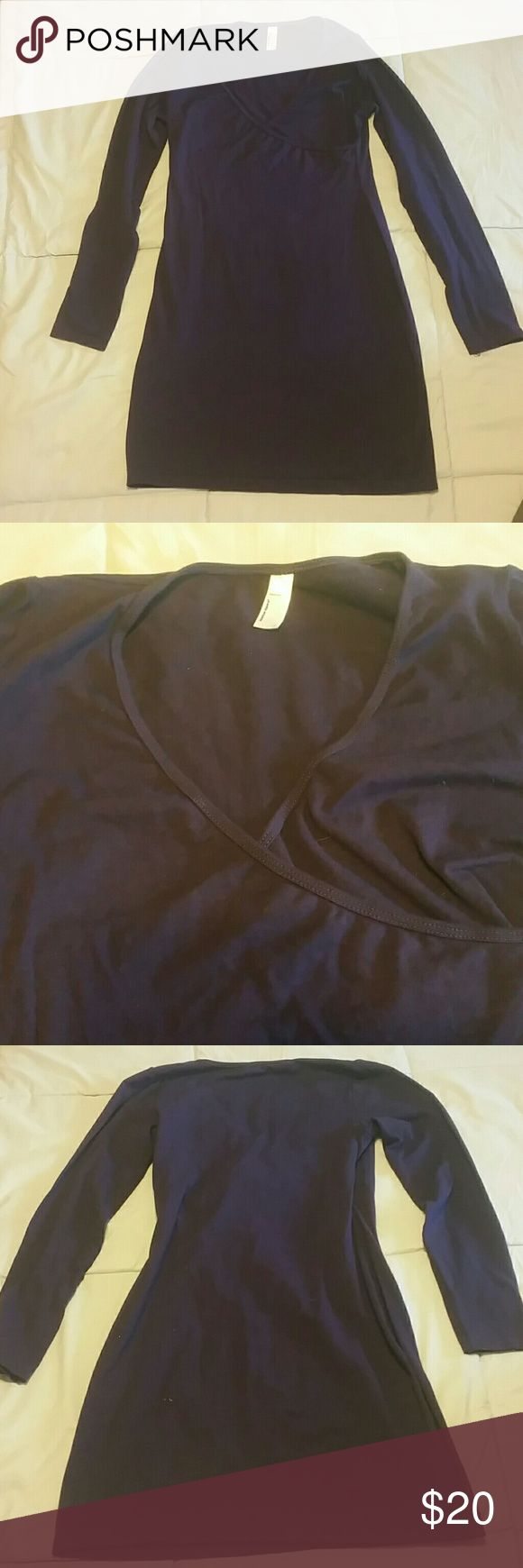 American Apparel Wrap Dress L in Eggplant AA Wrap Dress (faux wrap meaning it covers your chest to create wrap appearance)  in Eggplant. Never Worn. Size Large. Slight deodorant mark on left armpit. Not noticeable unless you really look for it. American Apparel Dresses Mini