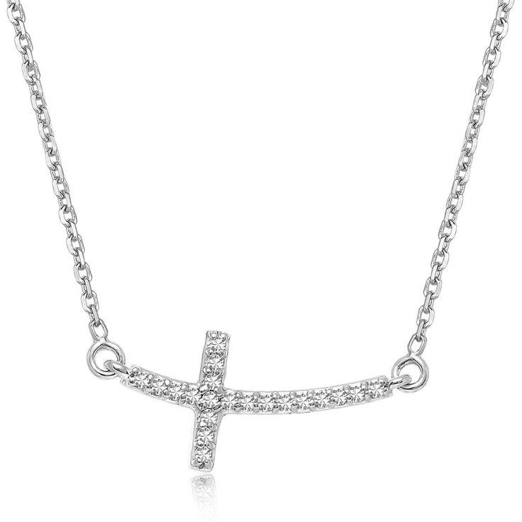 Diamond Flat Arched Cross Pendant 14k White Gold Necklace