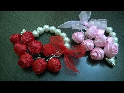 Шпилька-розочка. Мастер-класс. Канзаши / Hairpin-rosette. Master class. kanzashi - YouTube