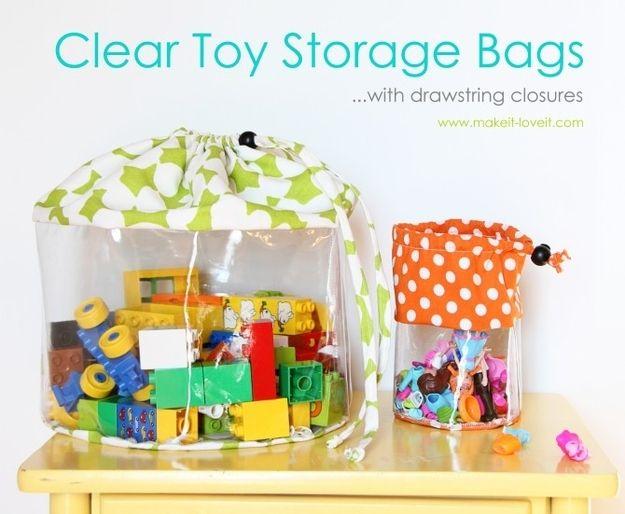 Niedliche Aufbewahrungs-Hüllen wie diese kannst Du sogar selbst machen.   41 schlaue Ideen, wie Du die Zimmer Deiner Kinder toll organisieren kannst