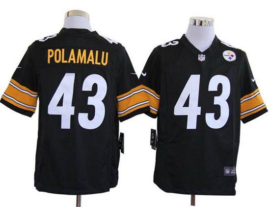Nike Steelers #43 Troy Polamalu Black Team Color Mens NFL Game Jersey