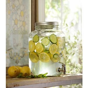 Vintage Glass Beverage Dispenser, 2-Gallon! <3