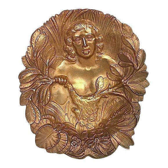 vintage  Art Nouveau bronze Footed dish .