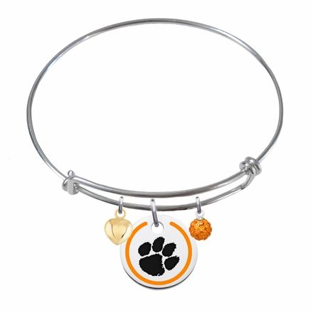 Clemson+Tigers+Sterling+Silver+Bangle+Bracelet+With+Enamel+Border+Charm #clemson