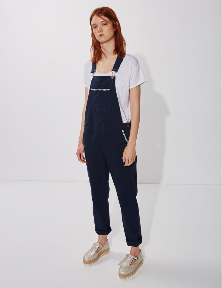 Yerse Dungarees with embroidered pockets