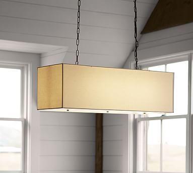 linen rectangular drum pendant potterybarn over kitchen table - Rectangular Pendant Light Dining