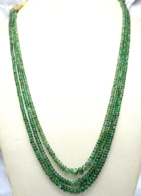 Special 7 Line EMERALD Color  Natural GREEN Quartz Round BEADS Necklace