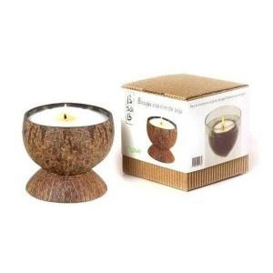 La bougie de massage à la vanille, un plaisir pour les sens à l'intérieur d'une boule coco