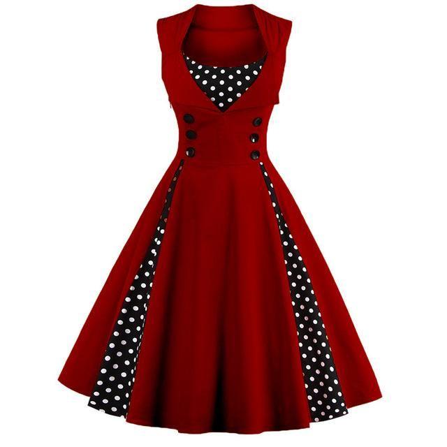 Retro Vintage Polka Dot Party Sleeveless Dress  b4af9e304217