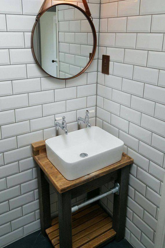 Industrial Reclaimed Wood Vanity Unit Bathroomvanities Industrial Bathroom Decor