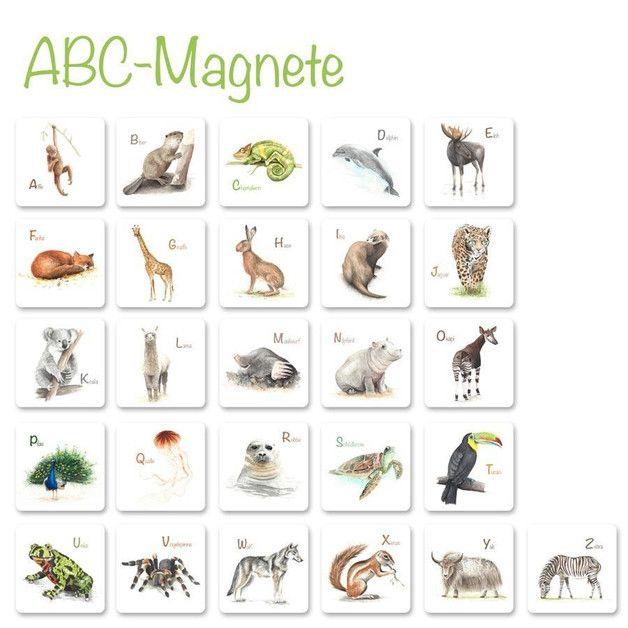 Dieses tolle ABC-Magnetset mit vielen handgemalten Tieren, eins für jeden Buchstaben des Alphabets, ist ein Schmuckstück in jedem Raum und eine wunderschöne Geschenkidee für jeden Anlass. Besonders für Schulkinder oder als Geschenk zur Einschulung als schöne Deko mit Lerneffekt. So macht die Schule Spass!  Im Original wurde alle Tiere mit Aquarellfarben auf Aquarellpapier gemalt, folgend digitalisiert und auf Magnete gedruckt. Jeder Magnet ist quadratisch und 58 mm breit/hoch
