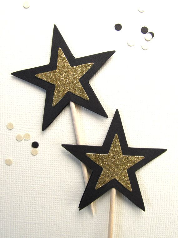 Black and Gold Glitter Star Cupcake Toppers  12 Double-sided black matte and gold glitter party picks, cupcake toppers  Measure just under 2 (5.1 cm) across  Height of toothpick and star is 3.5 (8.9 cm)  All picks are handmade and are packaged in a eco-friendly glassine bag  Made in our smoke-free/pet-free home  Black and gold tags here: https://www.etsy.com/listing/244301316/blackgold-glitter-tags-gift-tags-party?ref=shop_home_active_7  Contact us if you would like a different color or…