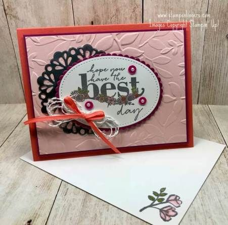Stamps-N-Lingers.  The Happy Wishes stamp set is gorgeous - and made even better because you can get it for FREE!  For free instructions on how to make this card and how to get the stamp set for free, please visit my blog at:  https://stampsnlingers.com/2018/01/23/stampin-up-happy-wishes-and-petals-for-the-stamp-ink-paper-133/