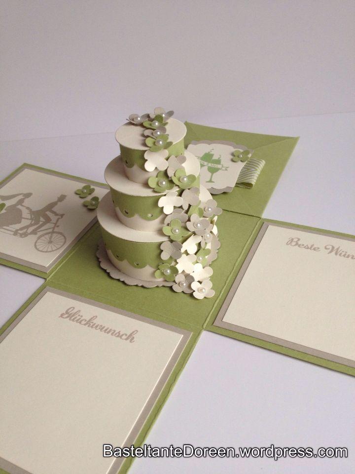 Explosionsbox zur Hochzeit in Farngrün,Saharasand und Vanille Pur von Stampin up,Itty Bitty Blüten,Basteltante Doreen