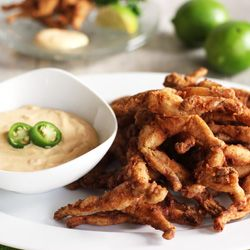 Light and crispy frog legs, with chili lime mayo... Yum!!!!