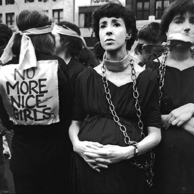A 1977 protest against the Hyde Amendment, which prohibited the use of federal Medicaid funds for abortion.