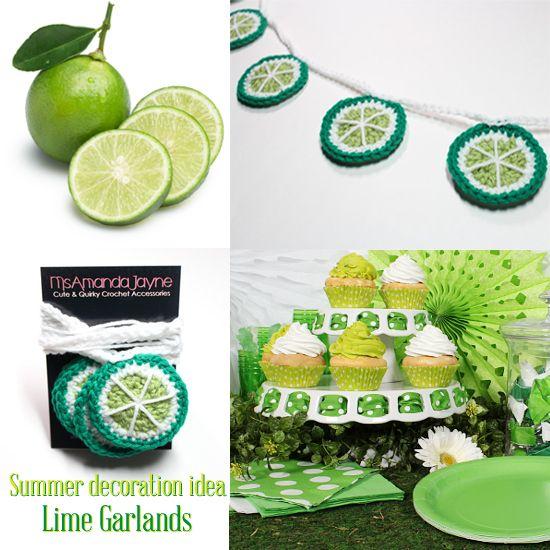#Lime #Garland #Crochet #Bunting #KitchenDecor, #summerparty, #decoration by MsAmandaJayne, $30.00