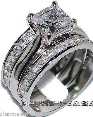Princess cut Diamond Engagement Ring 3 Band Wedding Set sz 7 Sterling Silver 925  Visit our website for more like this.