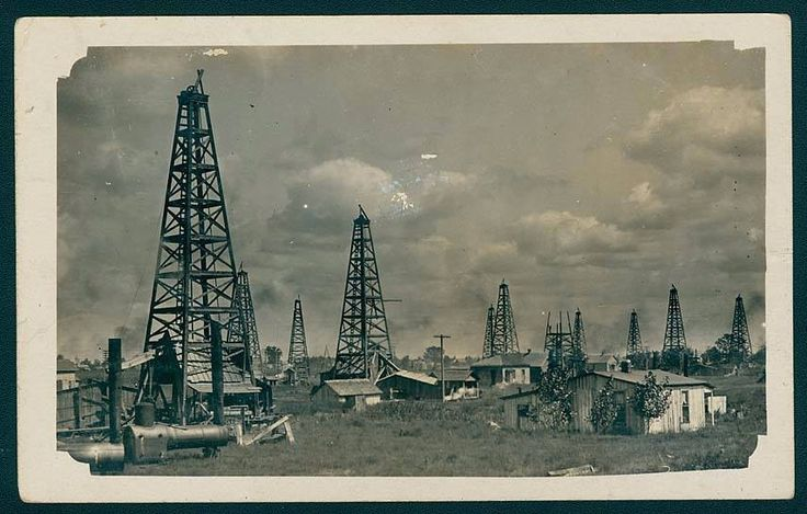 "Natural gas wells around the city of Marion was taken in 1907. The wagon in the lower left corner is a nitroglycerin wagon which was used to ""shoot the well."" Historic photo/Marion Public Library Museum."