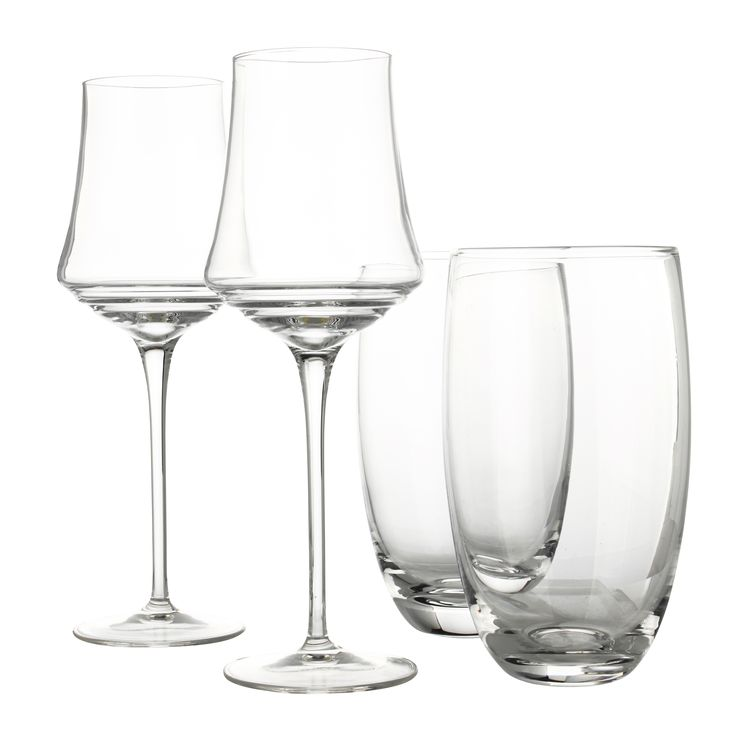 Wine glasses and tumblers.