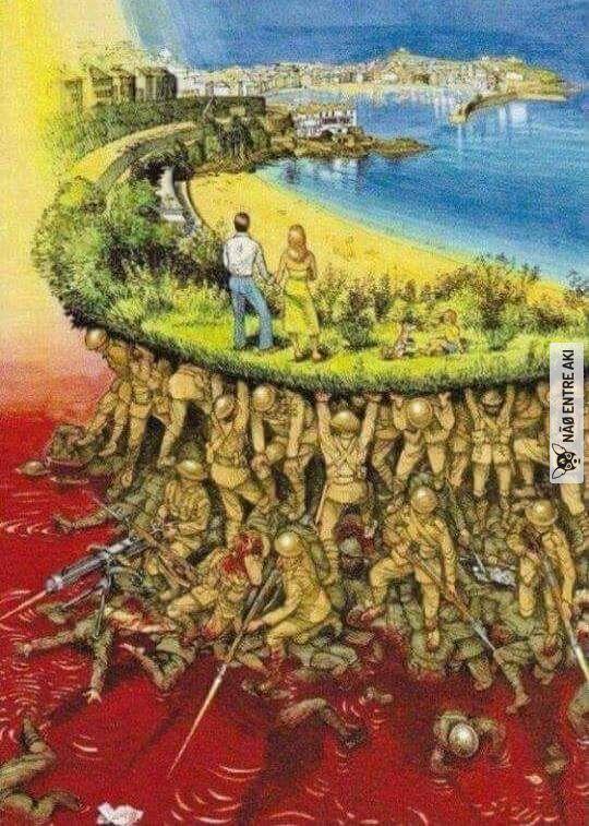 """""""nós lutamos para que outros não precisem lutar. portanto, pense bem antes de criticar um militar."""""""