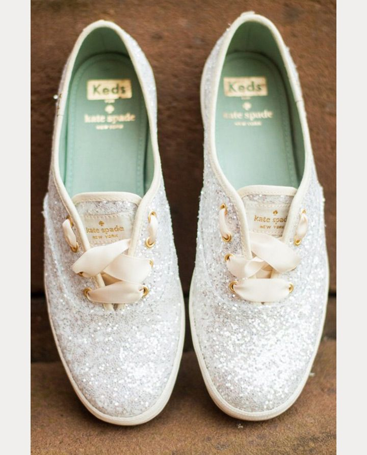 white sequin wedding sneakers - kate spade